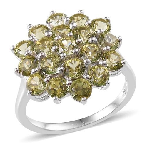Signity Khaki Topaz (Rnd) Cluster Ring in Platinum Overlay Sterling Silver 6.000 Ct.