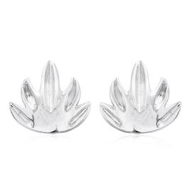 Maple Leaf Silver Stud Earrings in Platinum Overlay (with Push Back)