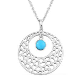 RACHEL GALLEY Arizona Sleeping Beauty Turquoise (Rnd) Off Center Pendant With Chain (Size 30) in Rhodium Plated Sterling Silver. Silver Wt 12.75 Gms