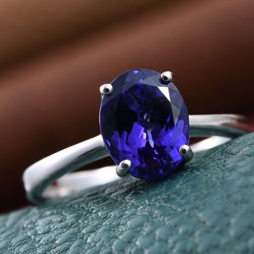 RHAPSODY 950 Platinum AAAA Tanzanite (Ovl) Solitaire Ring 3.000 Ct.