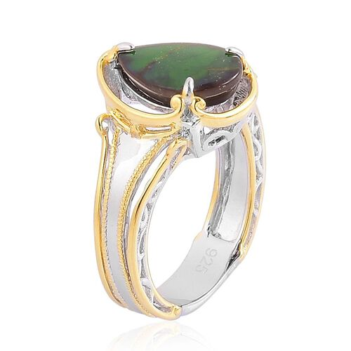 Canadian Ammolite (Pear) Solitaire Ring Rhodium Plated and Yellow Gold Overlay Sterling Silver 2.250 Ct.