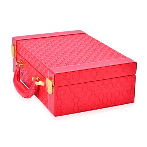 Red Colour Woven Pattern Breifcase Design Double Layer Jewellery Box with Mirror Inside (Size 27.5X18.5X9 Cm)