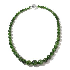Collectors Edition-Very Rare Natural Russian Diopside (Rnd) Necklace (Size 20) with Magnetic Clasp in Rhodium Plated Sterling Silver 490.000 Ct.