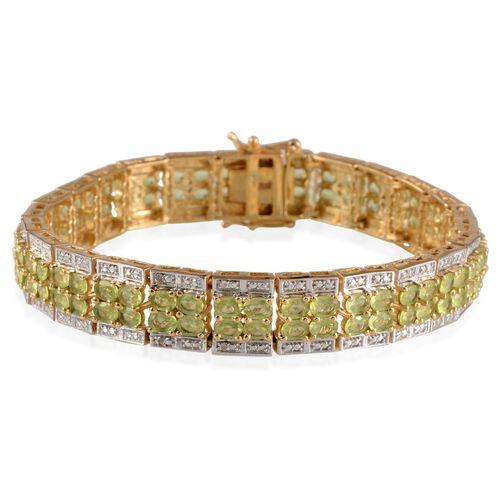 AA Hebei Peridot (Ovl), Diamond Bracelet in 14K Gold Overlay Sterling Silver (Size 8) 17.020 Ct.