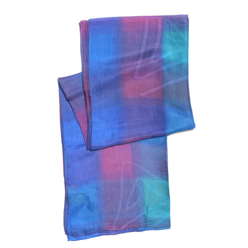 100% Mulberry Silk Navy, Pink and Multi Colour Handscreen Printed Scarf (Size 180x90 Cm)