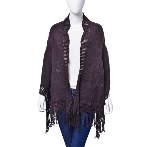 Dark Chocolate Colour Checks and Hollowed Out Pattern Scarf with Tassels (Size 160x50 Cm)