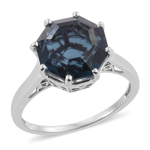 Indicolite Quartz (Octillion) Solitaire Ring in Platinum Overlay Sterling Silver 8.250 Ct.