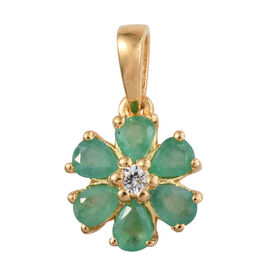 Zambian Emerald, Natural Cambodian Zircon 0.93 Ct Silver Flower Pendant in Gold Overlay