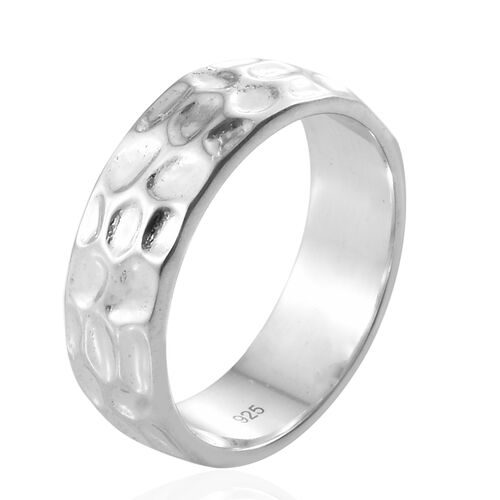 Silver 6mm Texture Band Ring in Platinum Overlay, Silver Wt. 4.26 Gms.