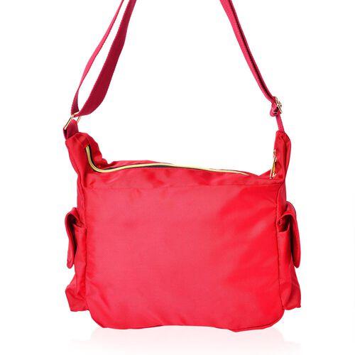 Red Colour Multi Pocket Waterproof Crossbody Bag with Adjustable Shoulder Strap (Size 28X20X10.5 Cm)