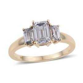 J Francis - 9K Y Gold (Oct) 3 Stone Ring Made with SWAROVSKI ZIRCONIA