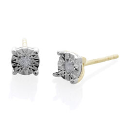 9K Yellow Gold 0.10 Carat Diamond (Rnd) (I3/G-H) Stud Earrings (with Push Back) SGL Certified