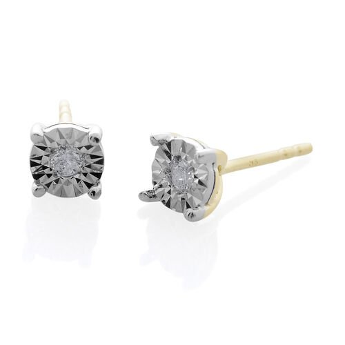 9K Yellow Gold 0.10 Carat Diamond (Rnd) Stud Earrings (with Push Back) SGL Certified (I3/G-H)