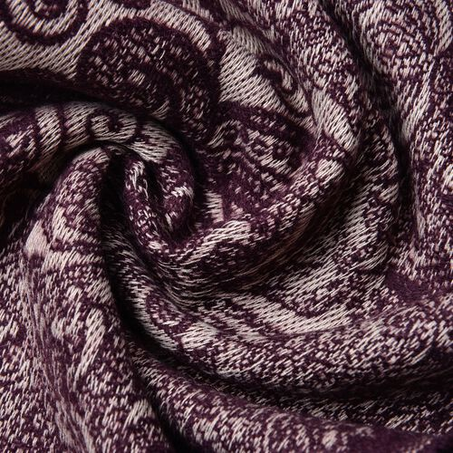 Plum and Cream Colour Paisley Pattern Scarf with Tassels (Size 180X65 Cm)