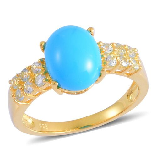 Arizona Sleeping Beauty Turquoise (Ovl 1.75 Ct), Sky Blue Topaz Ring in Yellow Gold Overlay Sterling Silver 2.250 Ct.