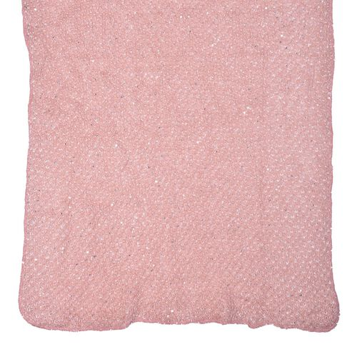 Net Design Pink Colour Scarf with Silver Colour Sequins (Size 180x60 Cm)