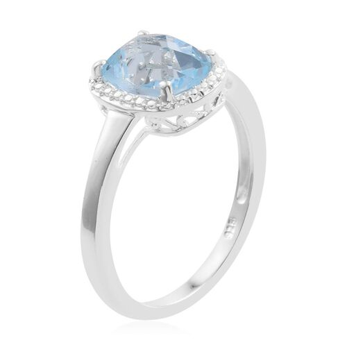 Sky Blue Topaz (Cush) Solitaire Ring in Sterling Silver 2.500 Ct.