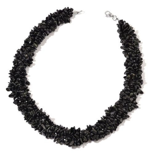 Australian Black Tourmaline Necklace (Size 18) and Stretchable Bracelet (Size 7.50) in Rhodium Plated Sterling Silver 902.050 Ct.