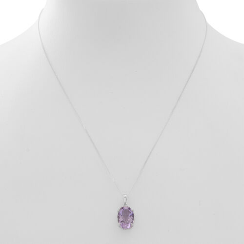 Rose De France Amethyst (Ovl) Solitaire Pendant With Chain in Rhodium Plated Sterling Silver 5.000 Ct.