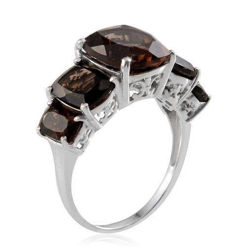 Brazilian Smoky Quartz (Cush 5.25 Ct) 5 Stone Ring in Platinum Overlay Sterling Silver 10.750 Ct.