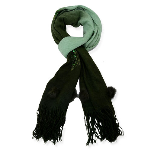 Sequin Feather Pattern Light and Dark Green Colour Scarf with Fur Trim (Size 170x70 Cm)