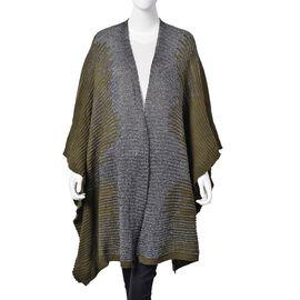 Designer Inspired Sparkle Dark Olive and Grey Colour Knitted Kimono (Size 115X60 Cm)
