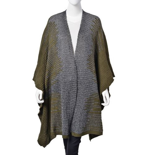 Designer Inspired Sparkle Dark Olive and Grey Colour Knitted Kimono (Size 115X60 Cm)