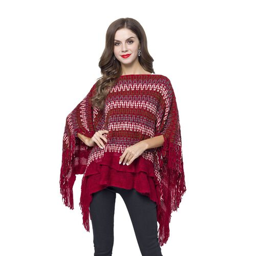 Red, White and Multi Colour Zigzag Pattern Poncho with Tassels (Free Size)