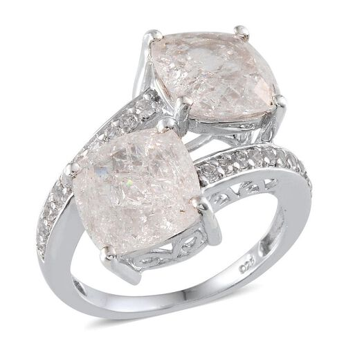 White Crackled Quartz (Cush), White Topaz Crossover Ring in Platinum Overlay Sterling Silver 11.400 Ct.