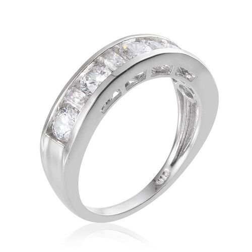 J Francis - Platinum Overlay Sterling Silver (Rnd) Half Eternity Band Ring Made With SWAROVSKI ZIRCONIA 1.690 Ct.