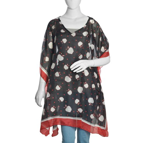 100% Mulberry Silk Black, Red and White Colour Apples Printed Kaftan (Free Size)