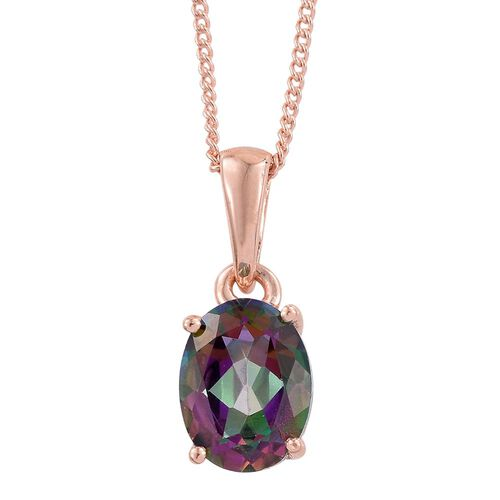 Northern Lights Mystic Topaz (Ovl 1.25 Ct) Solitaire Pendant With Chain and Stud Earrings (with Push Back) in Rose Gold Overlay Sterling Silver 3.250 Ct.