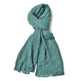 Italian Designer Inspired-Green Colour Knitted Scarf with Fringes (Size 190X55 Cm)