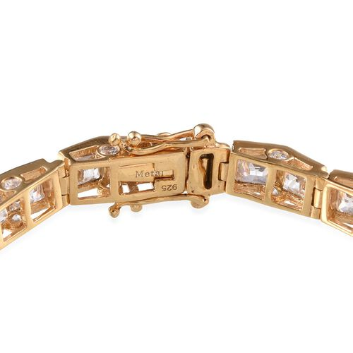 J Francis - 14K Gold Overlay Sterling Silver (Sqr) Bracelet (Size 7.5) Made With SWAROVSKI ZIRCONIA