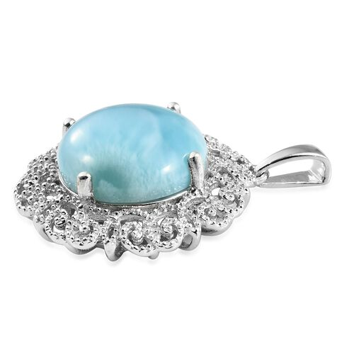 Larimar (Rnd) Art Deco Pendant in Platinum Overlay Sterling Silver 13.500 Ct.