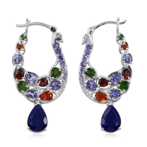 Stefy Lapis Lazuli (Pear), Tanzanite, Mozambique Garnet, Russian Diopside Jalisco Fire Opal, Pink Sapphire and White Topaz Hoop Earrings in Platinum Overlay Sterling Silver 7.750 Ct.