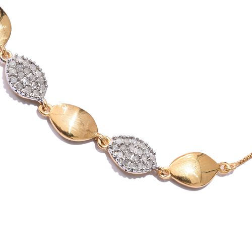 Diamond (Rnd) Adjustable Bracelet (Size 6.5 to 8) in 14K Gold Overlay Sterling Silver 0.400 Ct.