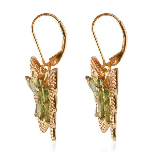Hebei Peridot (Mrq) Butterfly Lever Back Earrings in 14K Gold Overlay Sterling Silver 5.000 Ct. Silver wt 7.00 Gms.
