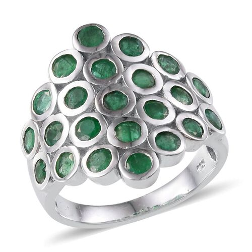 Kagem Zambian Emerald (Rnd) Ring in Platinum Overlay Sterling Silver 2.750 Ct.