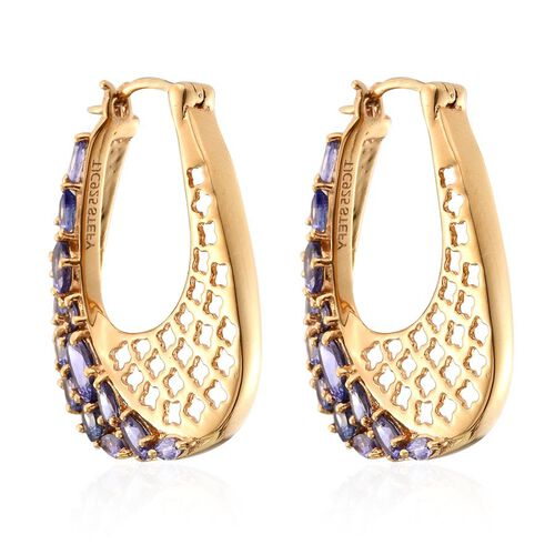 Tanzanite (Ovl), Pink Sapphire Earrings (with Clasp) in 14K Gold Overlay Sterling Silver 4.250 Ct.