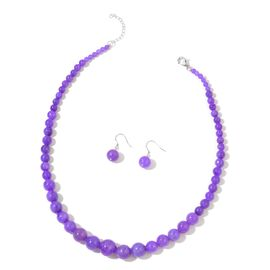 Burmese Purple Jade Ball Necklace (Size 18 with 2 inch Extender) and Earrings in Rhodium Plated Sterling Silver 270.000 Ct.