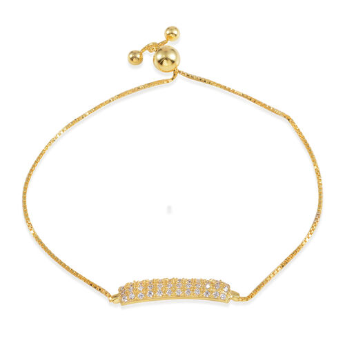 Designer Inspired JCK Vegas Collection ELANZA AAA Simulated Diamond (Rnd) Adjustable Bracelet (Size 6 to 9) in 14K Gold Overlay Sterling Silver