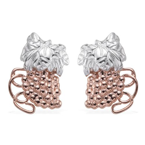 Stefy Pink Sapphire (Rnd) Earrings (with Push Back) in Rose Gold and Platinum Overlay Sterling Silver, Silver Wt. 9.65 Gms