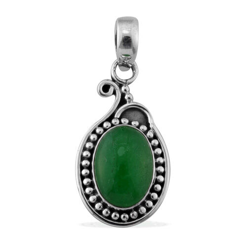 ARTISAN CRAFTED Chinese Green Jade (4.73 Ct) Sterling Silver Pendant