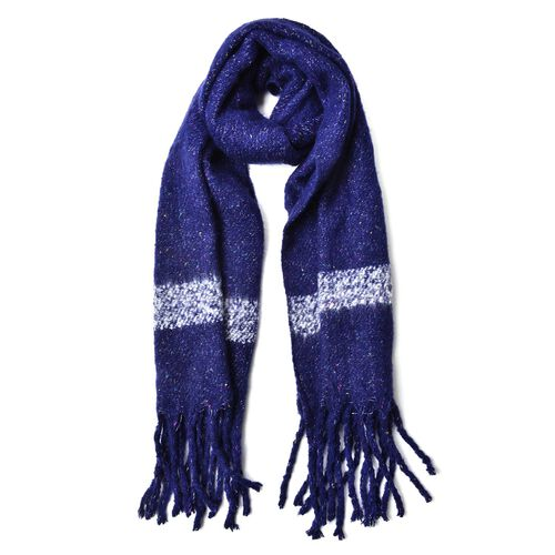 New Season-Navy, White and Multi Colour Knitted Shawl with Tassels (Size 200X65 Cm)
