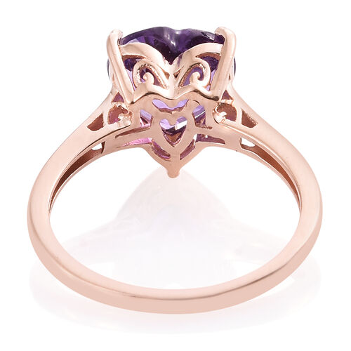 Amethyst 3 Ct Silver Heart Solitaire Ring in Rose Gold Overlay