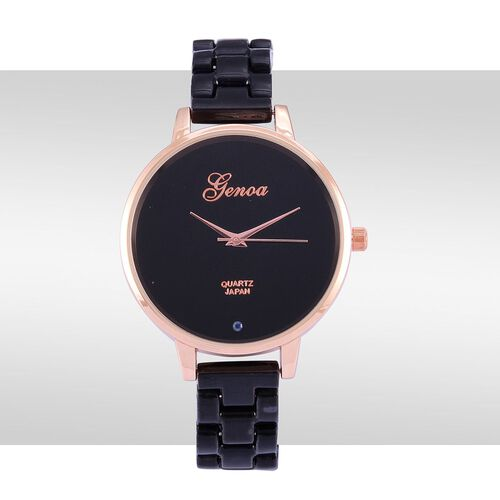 Blue Sapphire studded GENOA Black Ceramic Japanese Movement Black Dial Water Resistant Watch in Rose Gold Tone with Stainless Steel Back