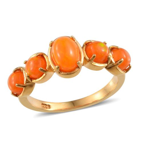 Orange Ethiopian Opal (Ovl 0.50 Ct) Ring in 14K Gold Overlay Sterling Silver 1.400 Ct.