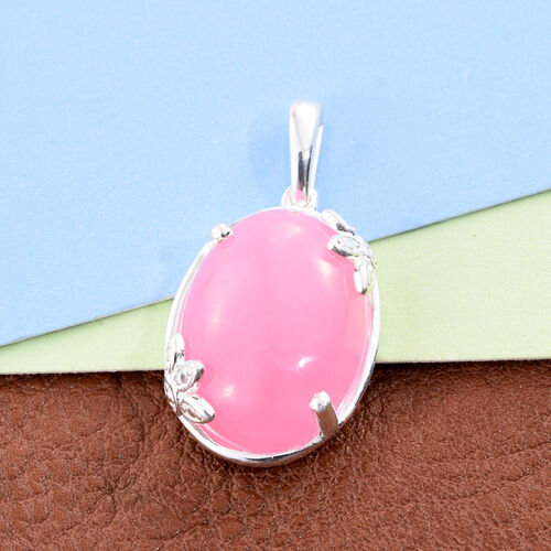 Pink Jade (Ovl) Pendant in Sterling Silver 14.000 Ct.