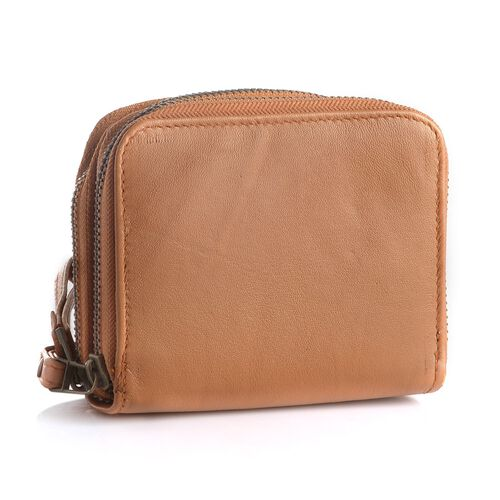 Genuine Leather RFID Blocker Camel Colour Ladies Wallet (Size 12x11x2 Cm)